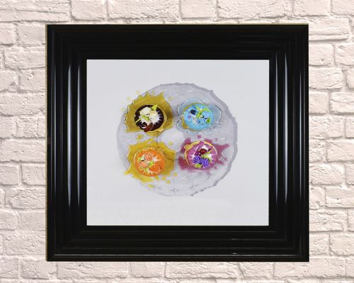 Large Grey Plate Dessert Black 65cm Frame  3D Artwork